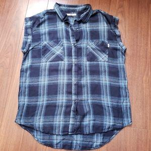 Vans sleeveless flannel button down shirt
